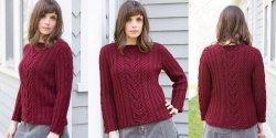 7c1d2bf5308 Пуловер спицами с косами и резинкой для женщин