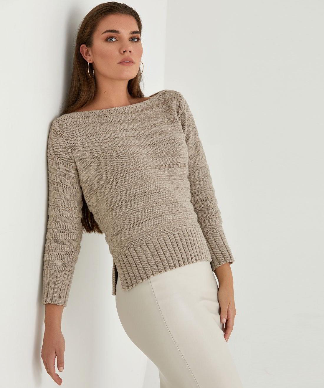 ab382582281a Женский пуловер спицами Sandy - Вяжи.ру