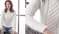 Белый свитер спицами Roding