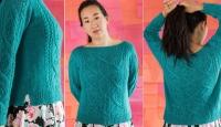 Пуловер с косами и ажуром Sinua