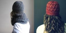 Ажурная шапка спицами миланским узором