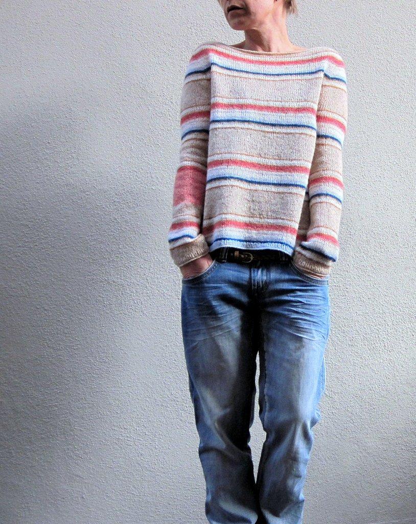 Полосатый пуловер спицами сверху Hanami - Вяжи.ру
