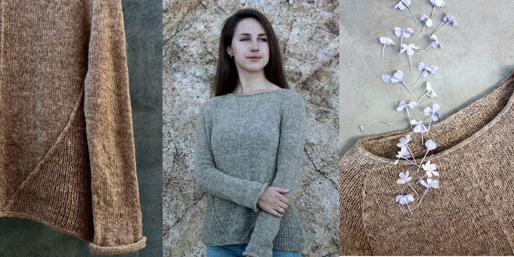 пуловер женский спицами реглан сверху тонкой пряжей