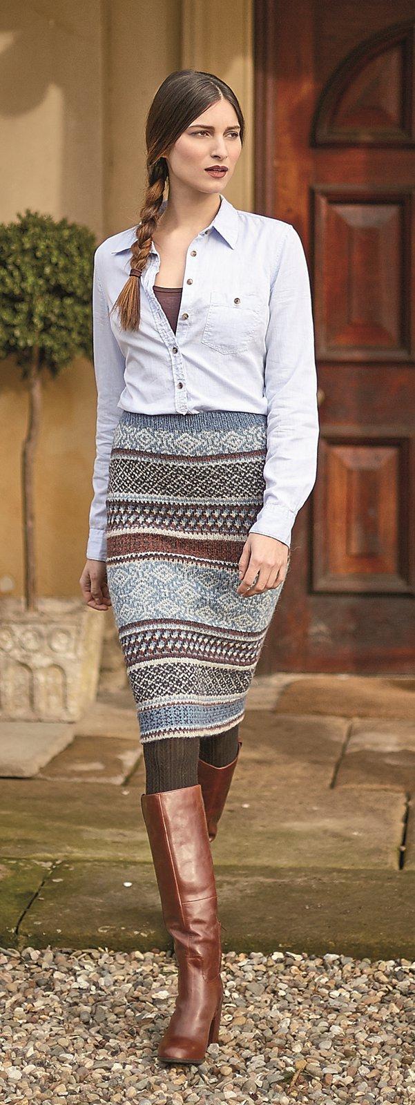 Жаккардовая юбка спицами описание