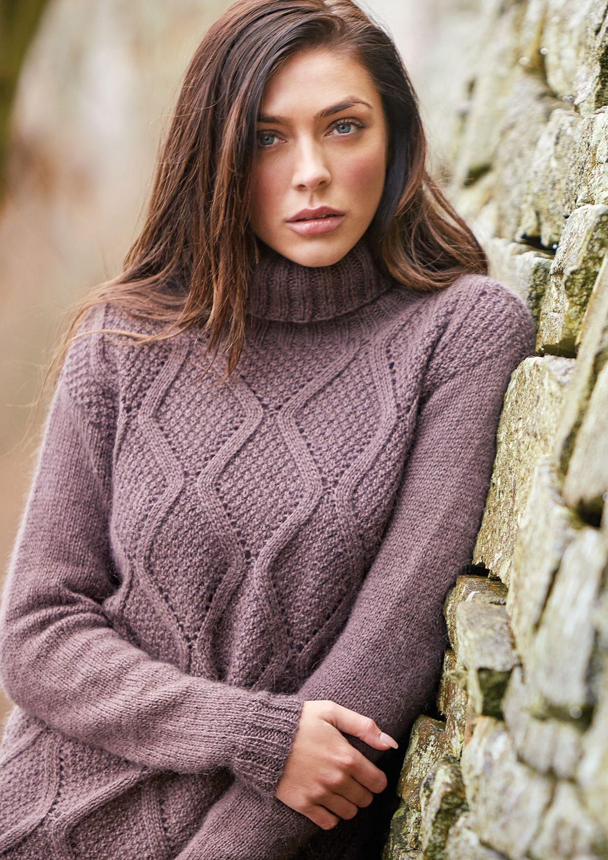 Пуловер из мохера спицами, схема и описание из журнала Rowan 62