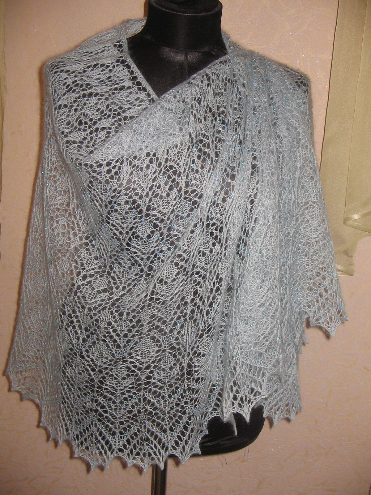 Вязание спицами ажурный шаль
