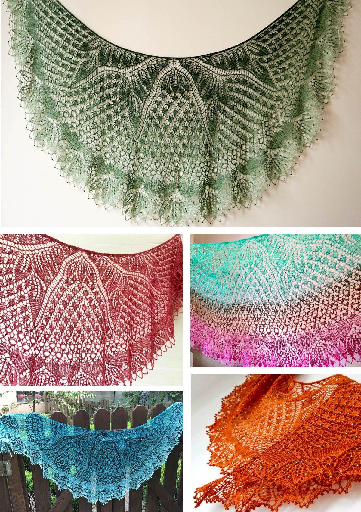 схема ажурной каймы для шалей