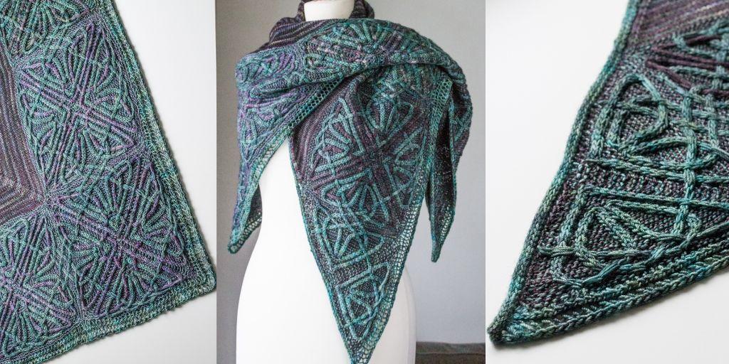 схема вязания серповидной шали
