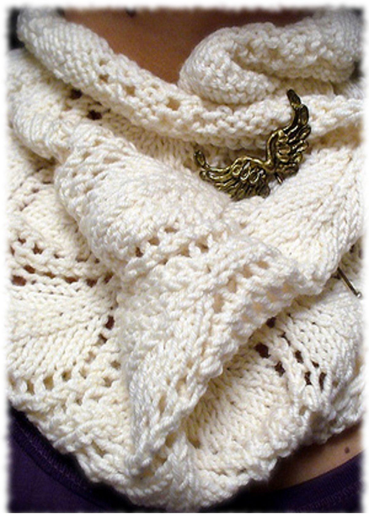 ажурный шарф снуд спицами схема