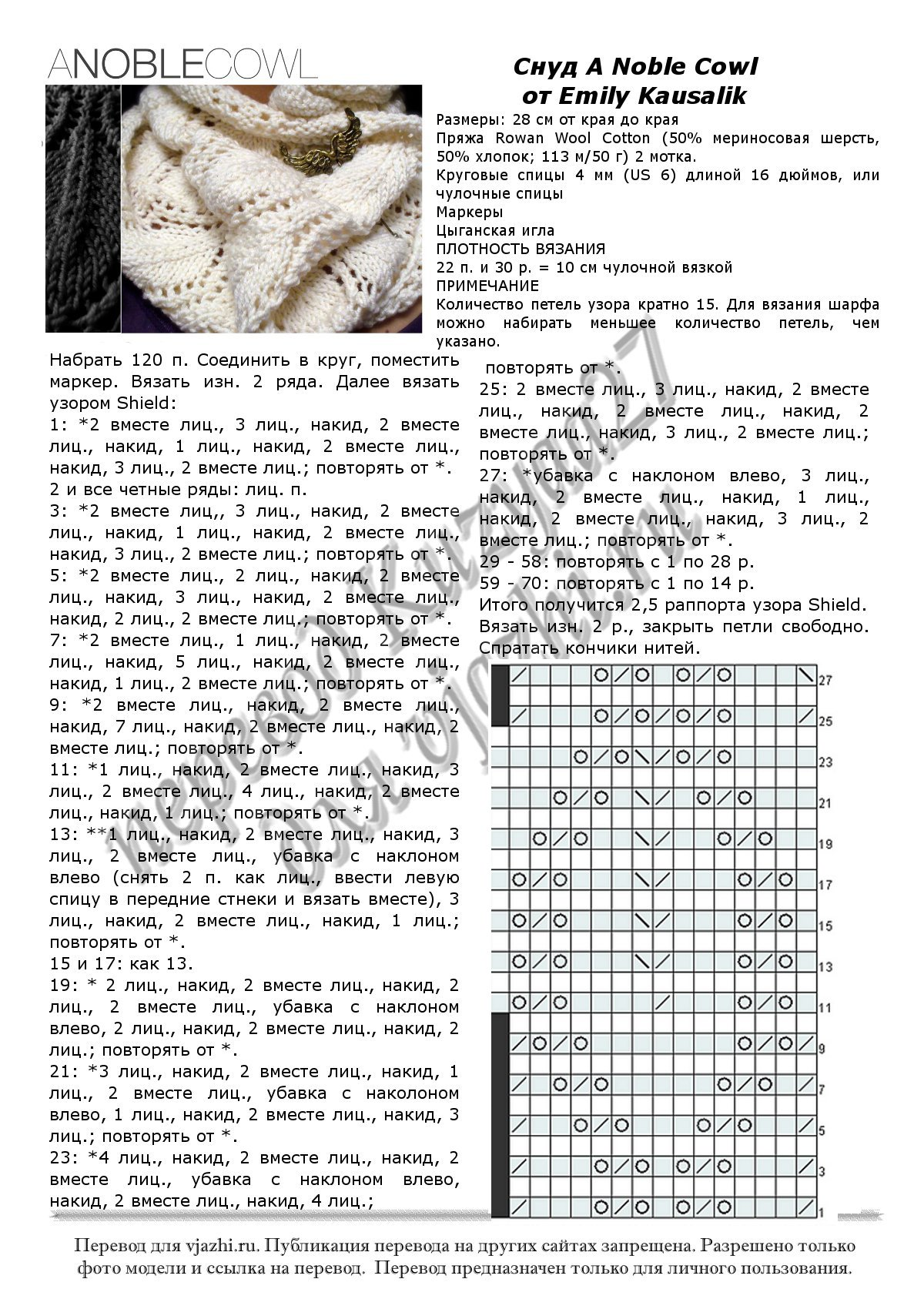 Вязание снудов, подборка узоров 54