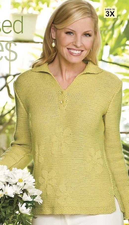 Вязание спицами пуловер с воротником