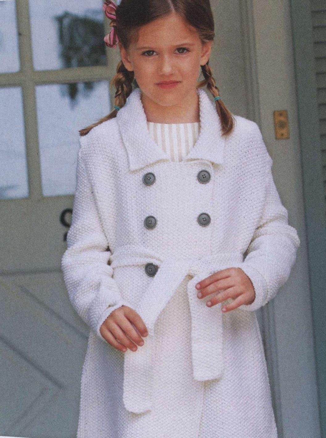 вязаное пальто для девочки 1 год