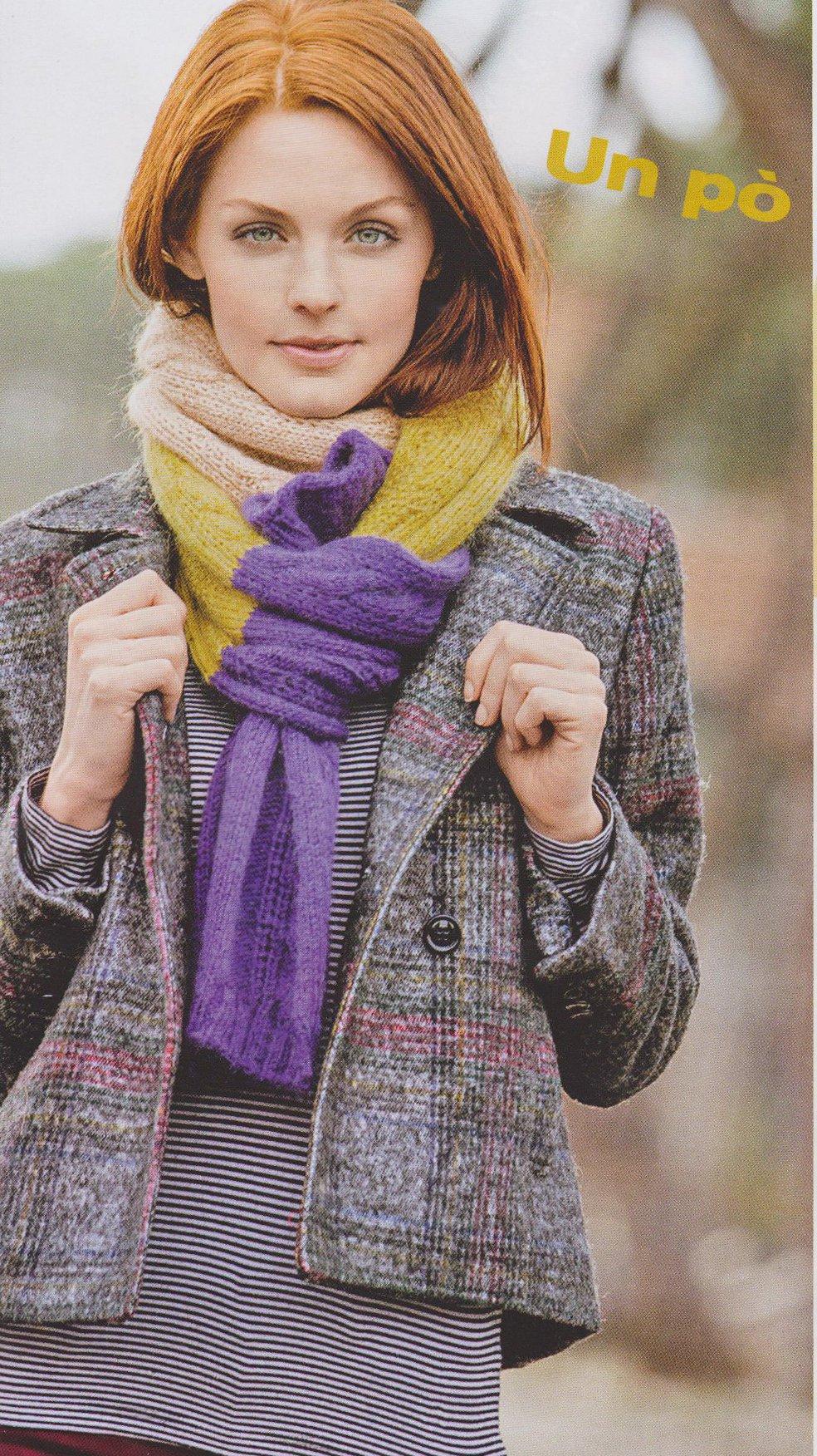 Вязание по косой спицами шарф 872
