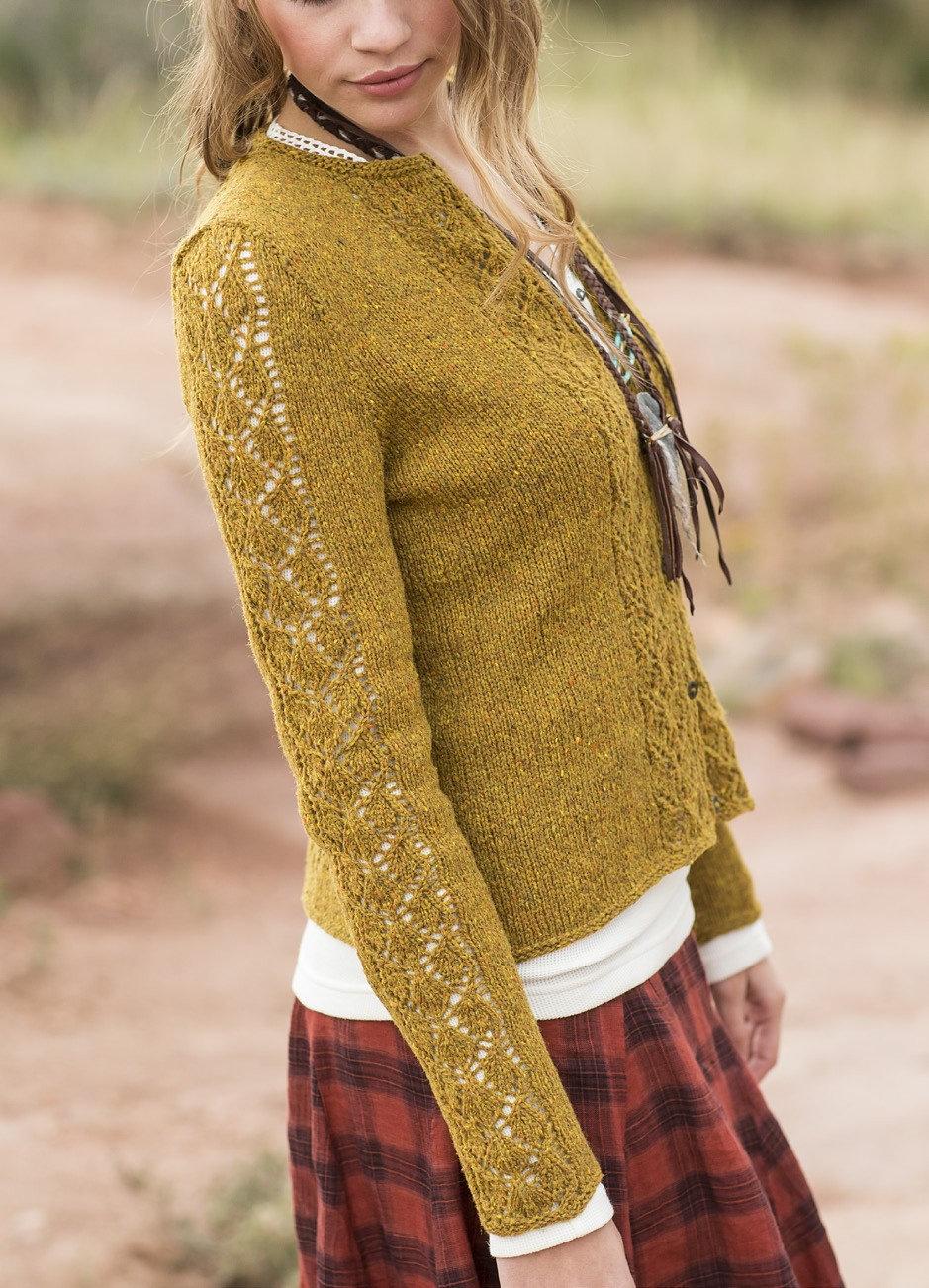вязание ажурного рукава спицами