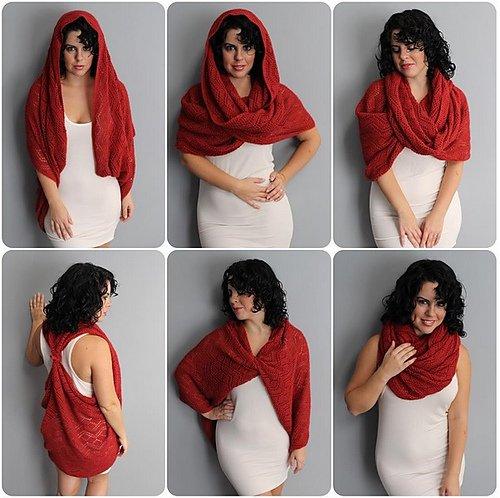 Вязание спицами шарфа трансформера 62