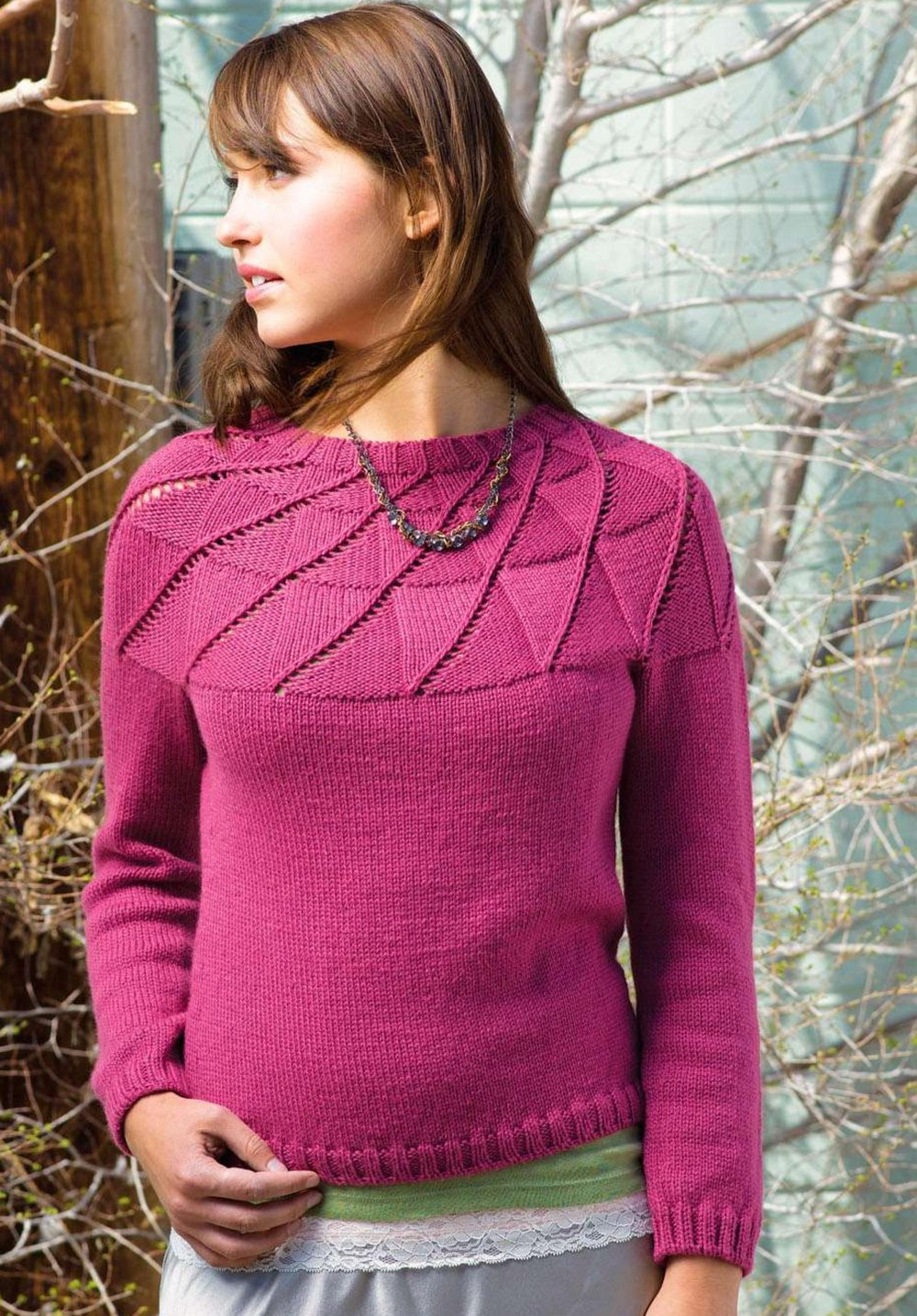 вязание спицами пуловеры с кокеткой схемы
