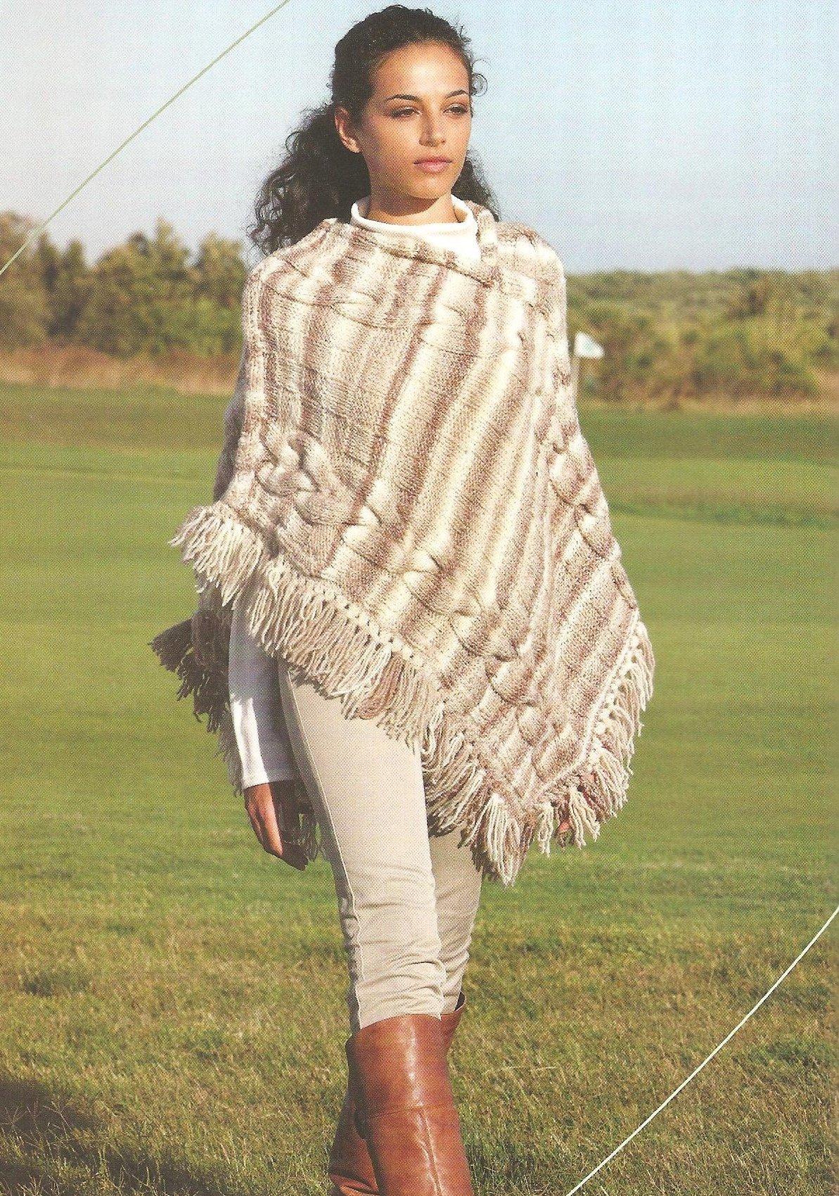 Вязание пончо с берсановой