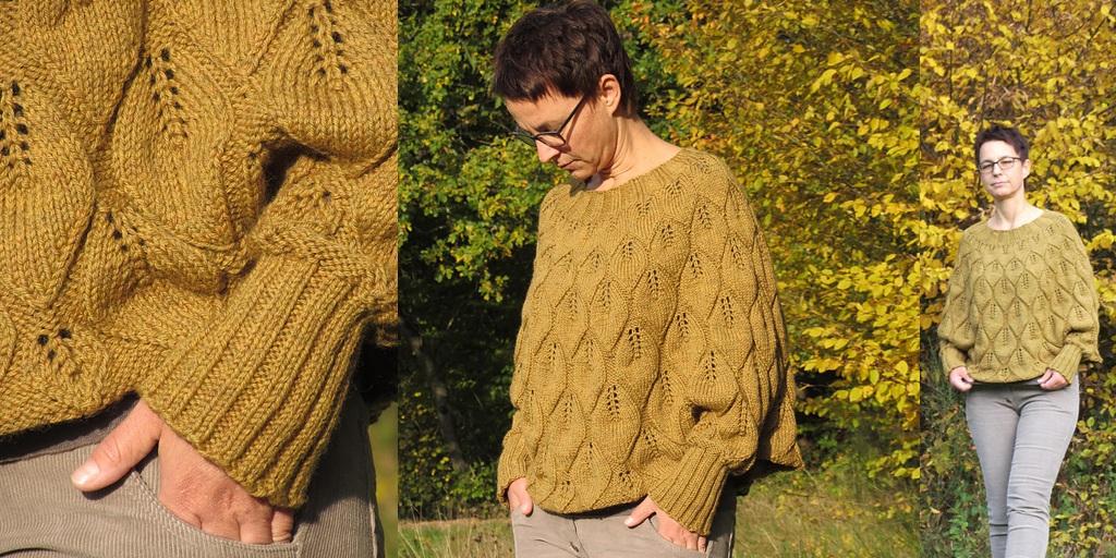 Пуловер-пончо с большим воротником и рукавами из кос схема спицами.