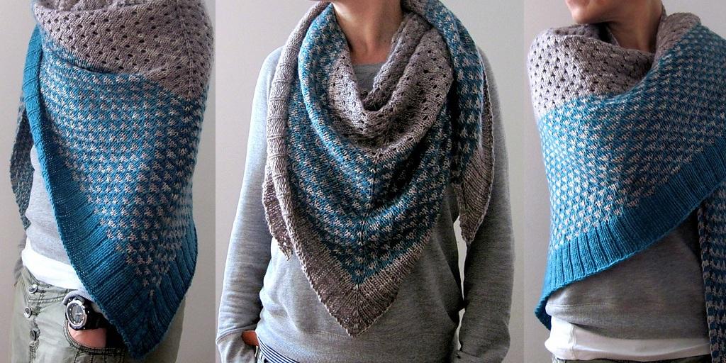 Вязание треугольного шарфа 10