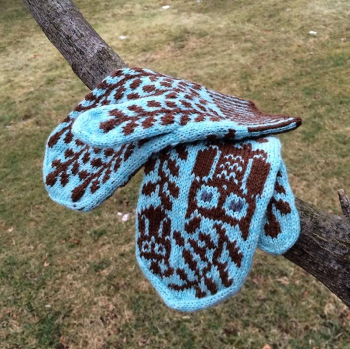 варежки с совами на спицах схема