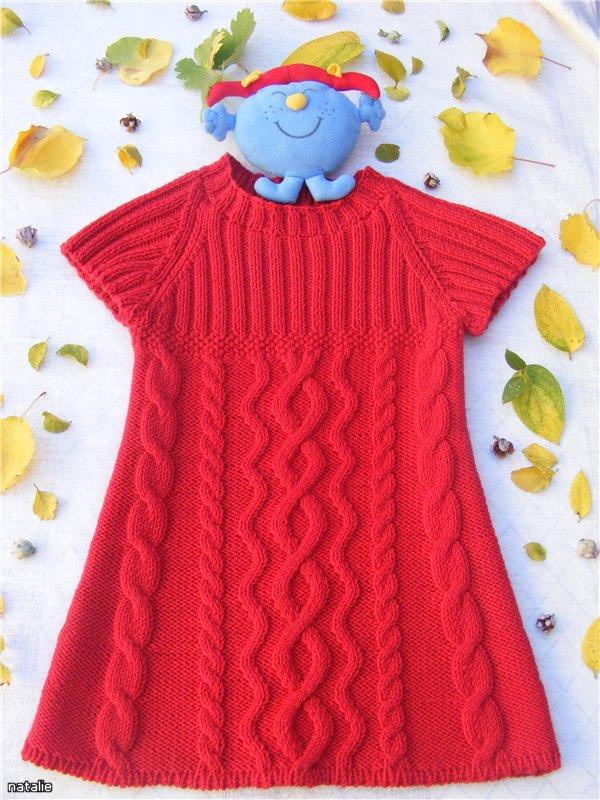 Платье туника для девочки вязание