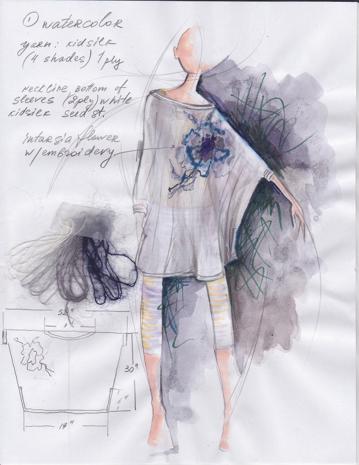 Вязаная туника с вышивкой цветком Elda с описанием из книги Rowan 57