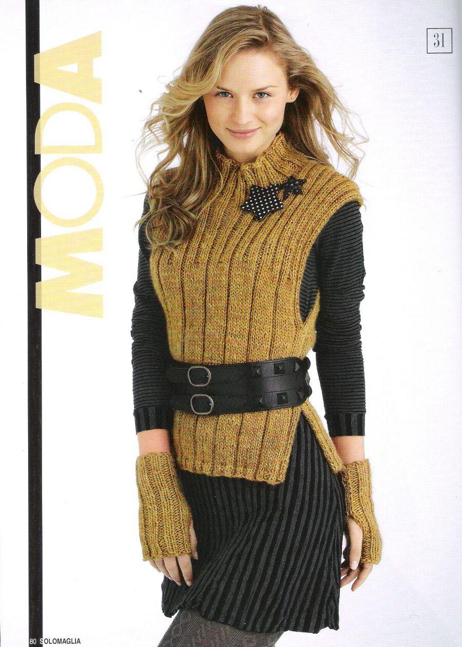 Вязание спицами модных безрукавок для женщин 60