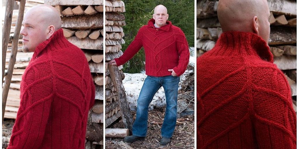 Вязание на спицах мужской свитер с горлом