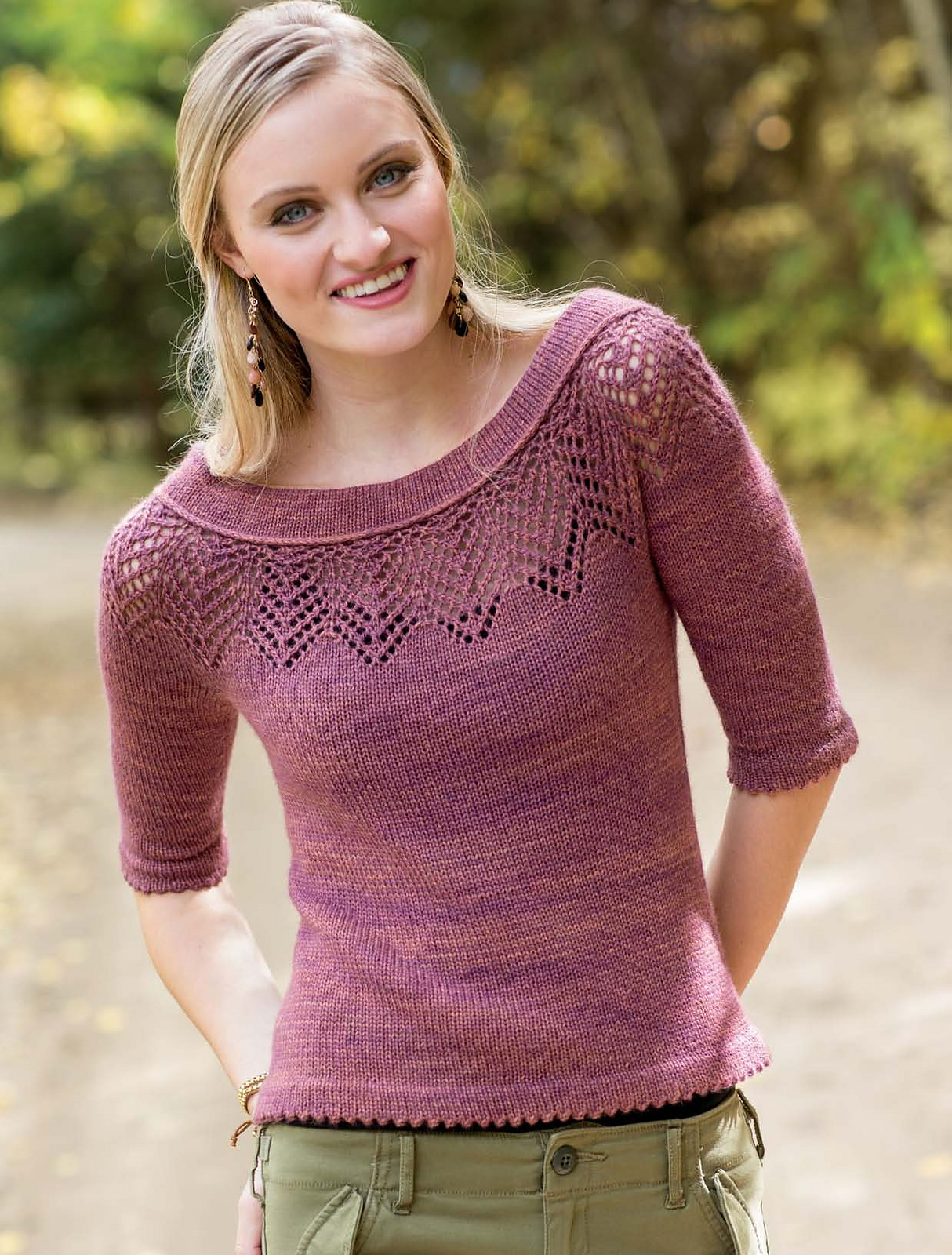 Пуловер с круглой ажурной кокеткой доставка