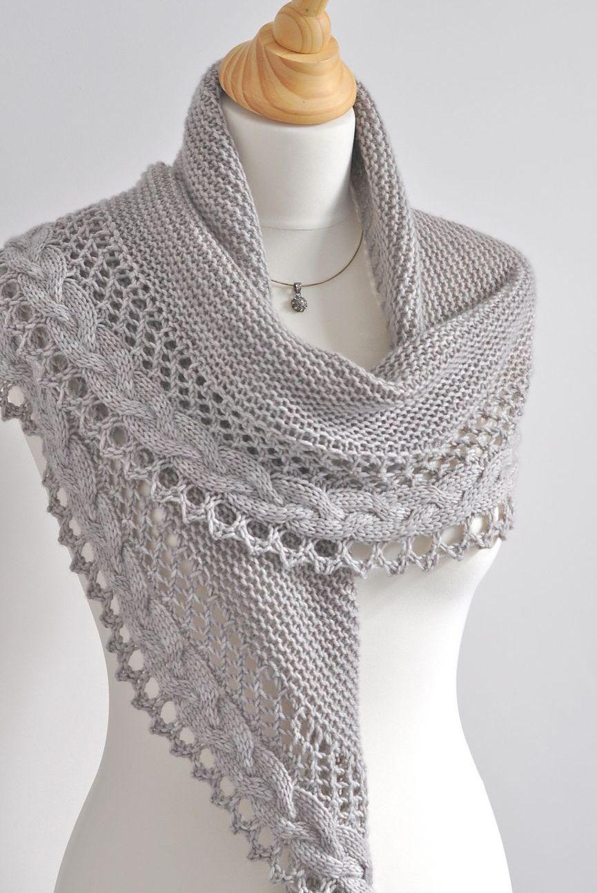 ажурная шаль вязание спицами со схемами