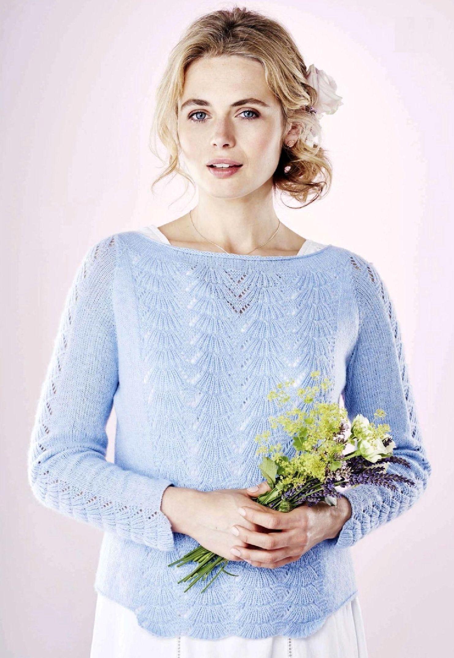 Вязание женских пуловеров спицами из тонких ниток 34