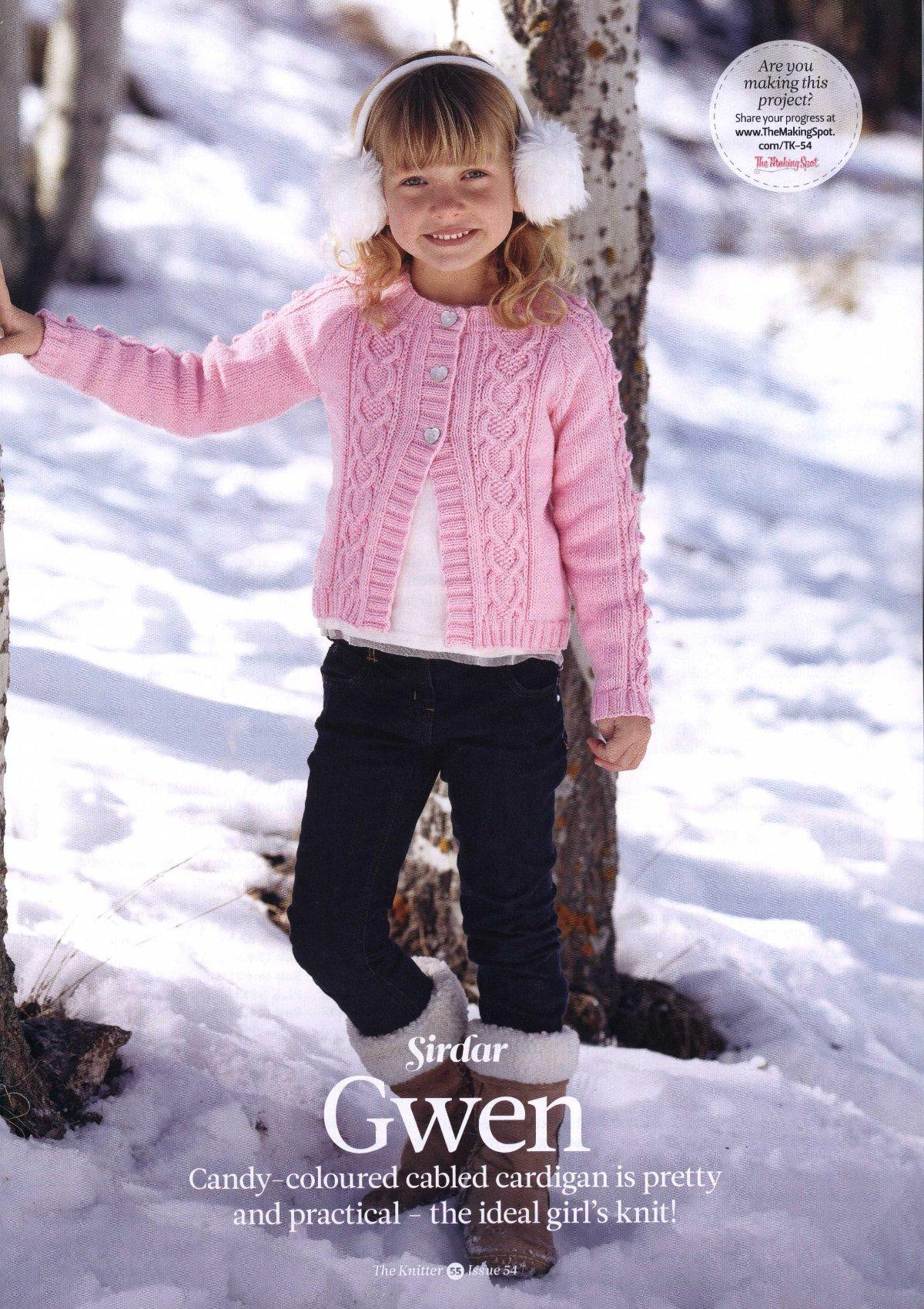 Вязание для девочек кардигана Gwen, The Knitter 54