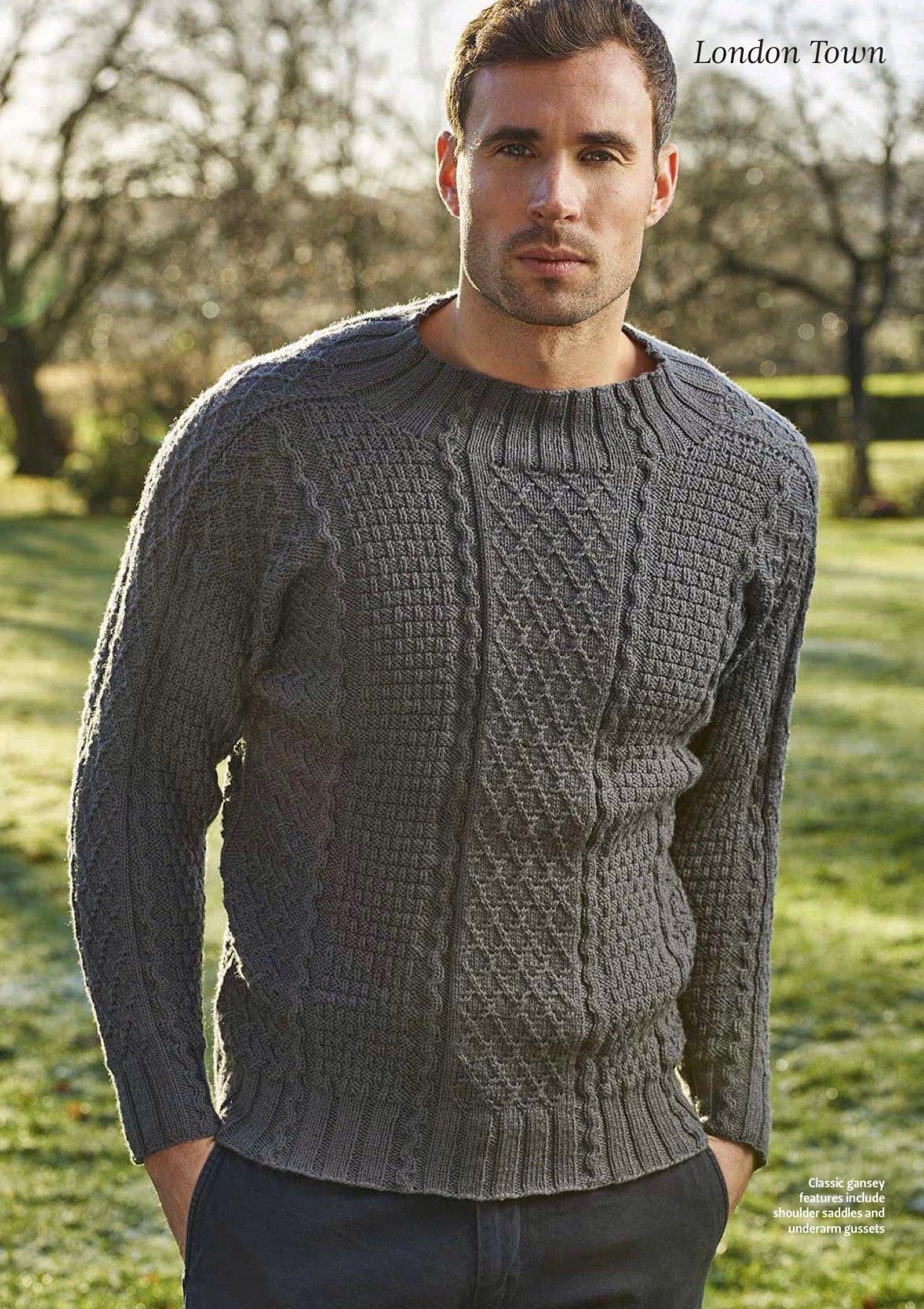 Мужской пуловер джемпер вязание спицами 173