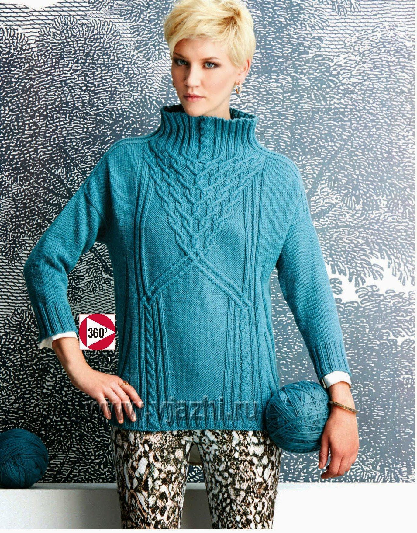 Вязание спицами пуловер с воротником 19