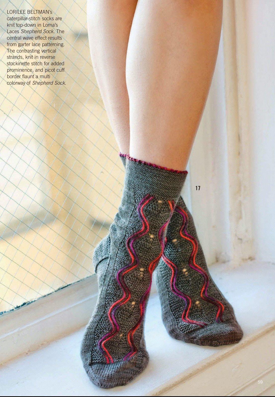 красивые вязаные носки Vertically Stranded вяжиру