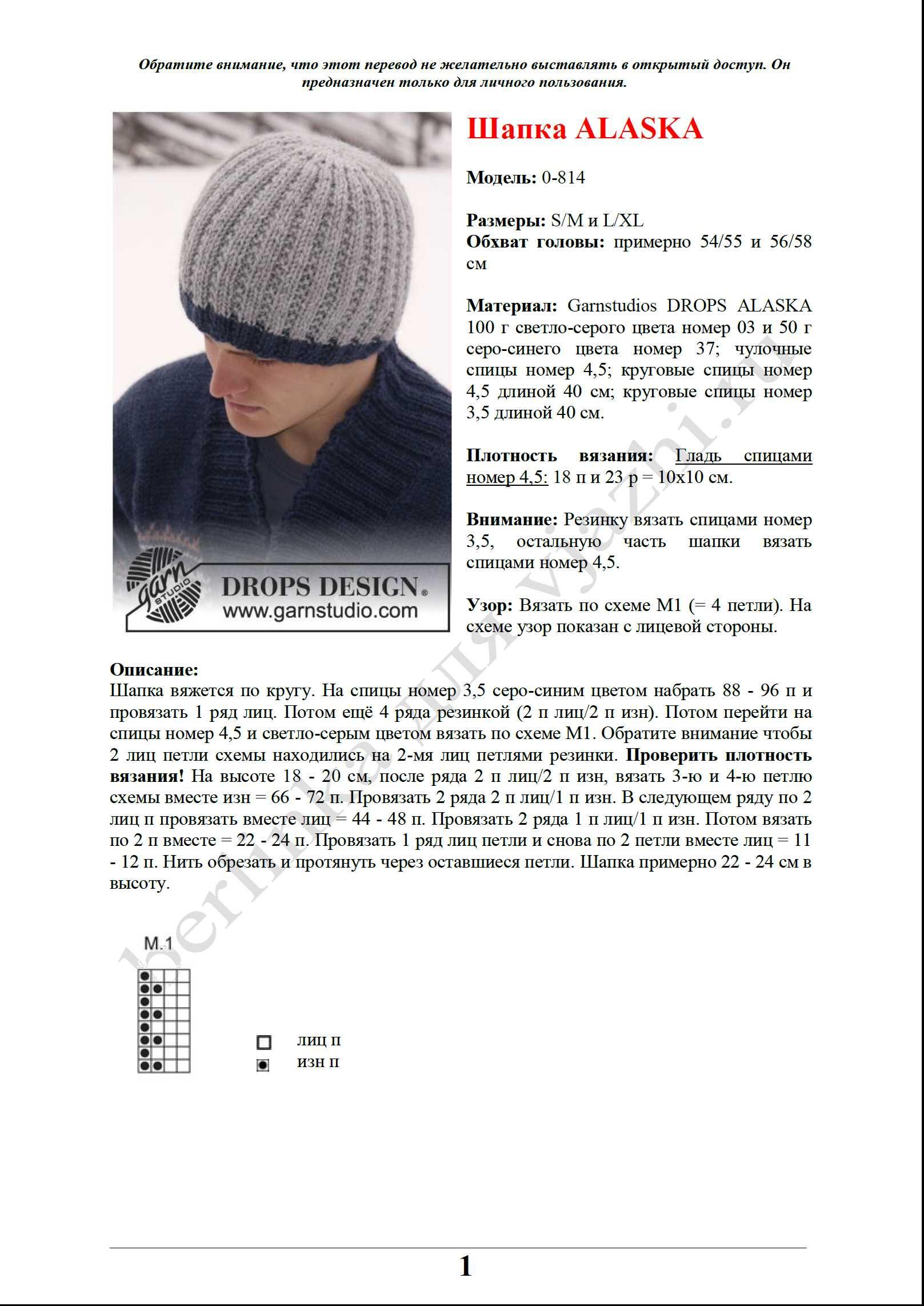 Схема вязанные шапки для мужчин