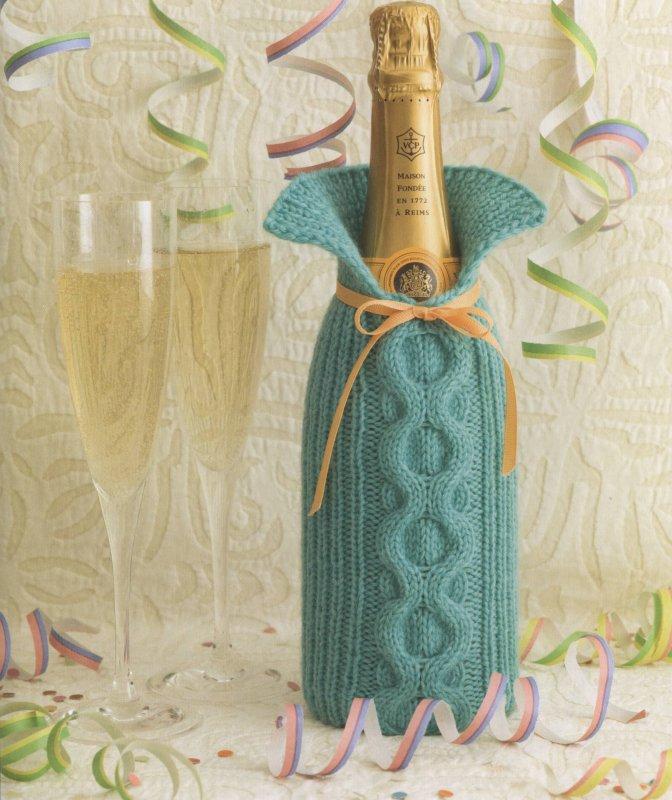 Вязаный чехол для шампанского на новый год