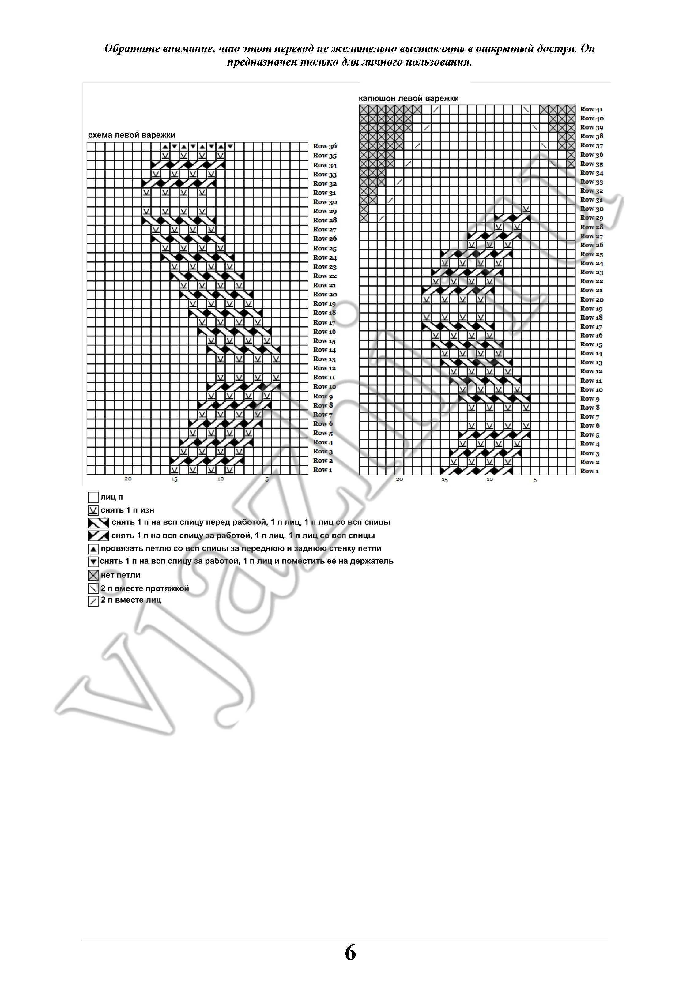 Вяжем варежки с рисунками по схеме 96