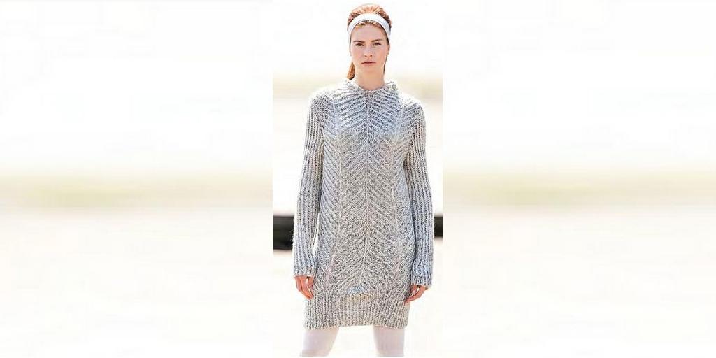 длинный свитер спицами Melodia вяжиру