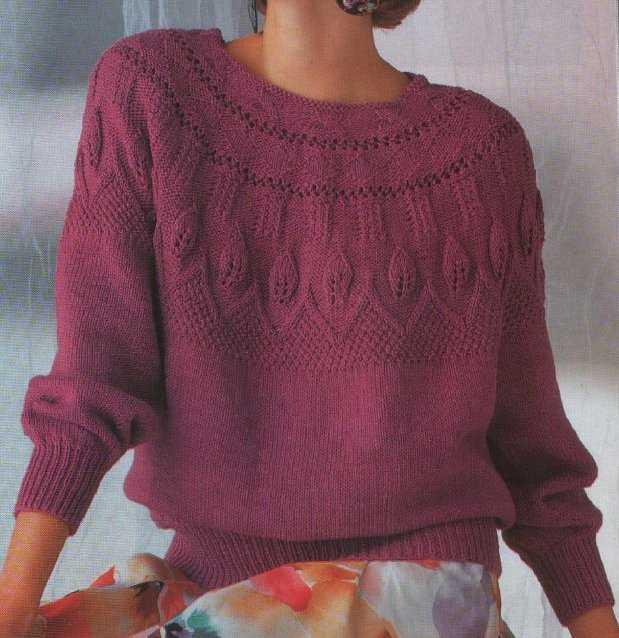 Вязание на спицах свитера с круглой кокеткой