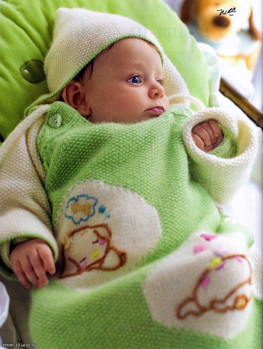 Вяжем конверт для новорожденного на спицах