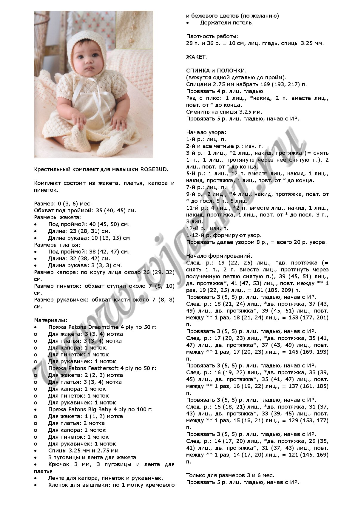 Платье для новорожденной девочки спицами с описанием и схемами
