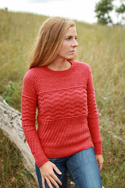 Пуловер коралловый