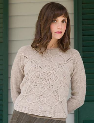 пуловер с витым узором кельтских кос спицами вяжиру