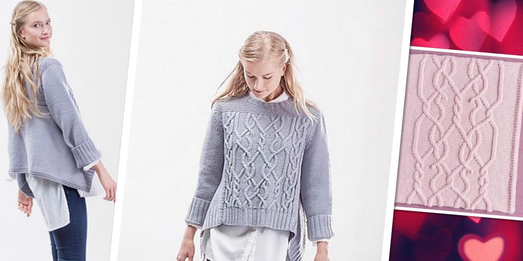 Вязание спицами стильного свитера