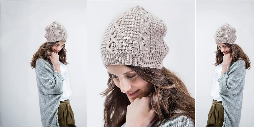 Вязание шапок для женщин с косами 113
