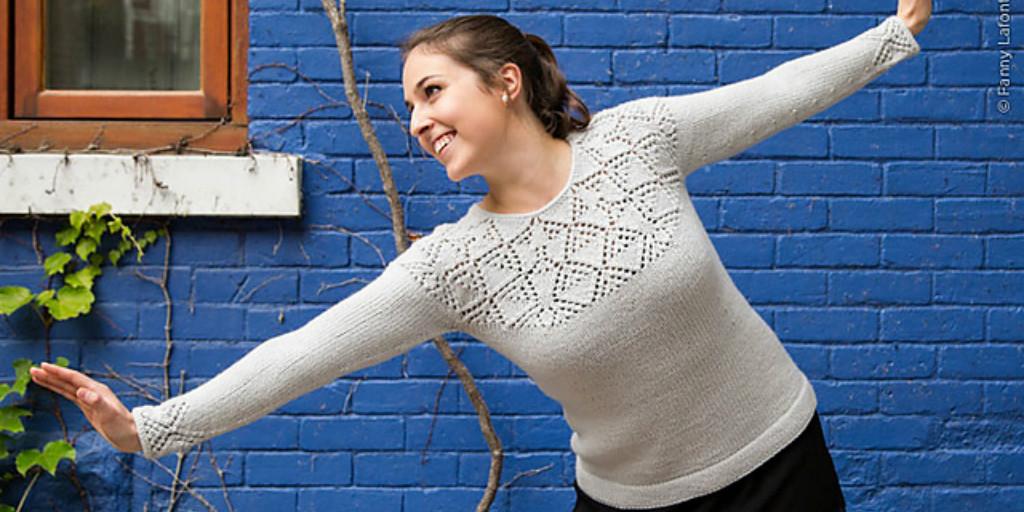 вязание свитер с ажурной кокеткой