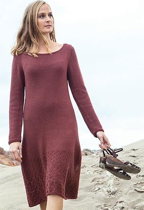 вязаное спицами платье с ажурным низом Emmeline вяжиру