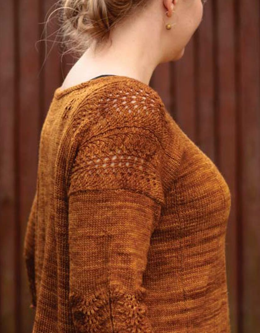 Цветной узор спицами плетенка