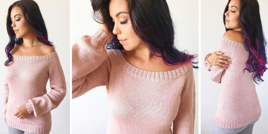 Модели свитера с открытыми плечами вязаного спицами